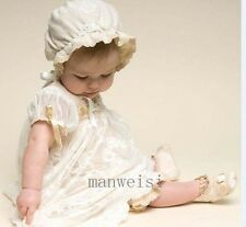 Vintage Lace Baptism Gown Christening Dresses Free Bonnet Infant Toddler +Bonnet