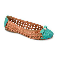 New Womens Teal Saddle Stitched Leather Flats REDHAWK 212 Size 6-10 (B, M)