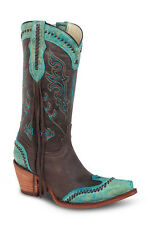 Womens Turquoise Cowgirl Western Leather Boots REDHAWK 37100 Size 5-10 (B, M)