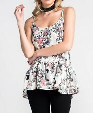 Les Amis Floral Butterfly Print Lace Up Ruffle Cami Tunic Top