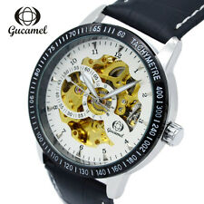 Fashion Mens Automatic Mechanical Watch Skeleton Steel Leather Hollow Wristwatch