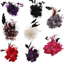 Bridal Feather Flower Hair Clip Brooch Wedding Corsage Fancy Hair Accessories