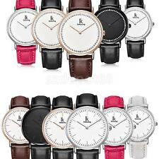 Fashion Plain Concise Leather Band Quartz Movement Wristwatch Waterproof Watch