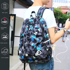 "Schoolbag Satchel Backpack Student Book Bag Laptop 15"" Unisex USB Charge Unisex"