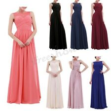 Women's Long Chiffon Dress Lace Maxi Evening Wedding Formal Bridesmaid Prom Gown