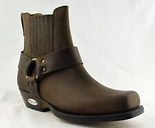 LOBLAN 096 Brown Leather Cowboy Ankle Boots Biker Western Square Chisel Toe Boot