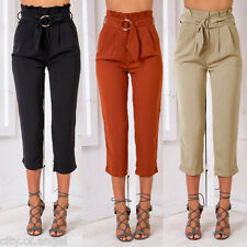 Fahsion Womens High Waist Casual OL Business Pencil Trousers Belted Harem Pants