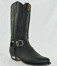 LOBLAN 2476 Black Waxy Leather Cowboy Boots Hand Made Classic UNISEX Western