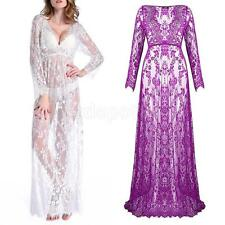 Maternity Womens Deep V-Neck Lace Dress See-through Maxi Dresses for Photo Shoot