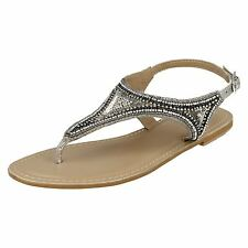 Ladies Leather Collection - Flat Toepost Beaded & Sequined Vamp Sandal