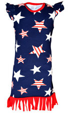 Girls 4th of July Patriotic Boutique Fringe Dress Outfit 1 year 2t 3t 4t 5 6 7 8
