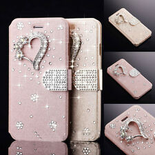 Crystal Diamond Magnetic PU Leather Flip Wallet Cover Case For Samsung/iPhone