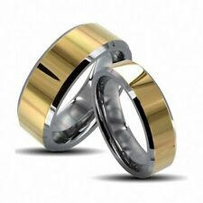 His & Her's  Two Tone Gold Shiny Center Tungsten Carbide Wedding Band Ring Set