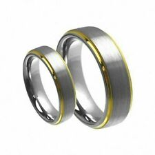 His & Her's 8MM/6MM Tungsten Carbide Gold Step Edge Brush Wedding Band Ring set