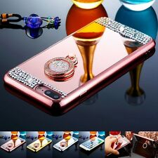 Bling Crystal Ring Holder TPU Mirror Back Cover Case For iPhone 5S 6 6S 7 Plus B