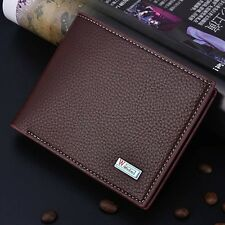 Men PU Leather ID credit Card holder Clutch Bifold Coin Purse Wallet Pockets New