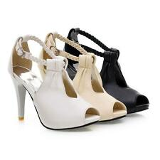 Womens High Heels Hollow Out Platform Hollow Ankle Strap Roman Sandals Shoes Hot