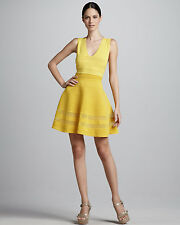 NEW! Authentic RARE! Missoni Women's Yellow Ribstitch Vneck Flouncy Knit Dress