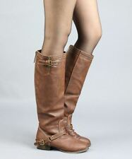 Breckelles Outlaw-81 Western Buckle Straps Decor Knee High Boots - TAN PU