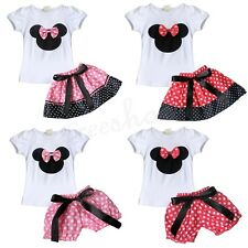 2pcs Cute Minnie Baby Girl Top T-Shirt Skirt Shorts Bottoms Outfit Fancy Dress