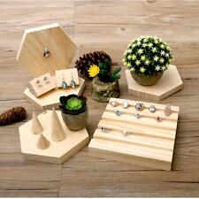 Natural Wooden Necklace Jewelry Display Tray Case Holder Rack Storage Box