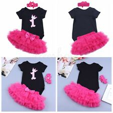 Newborn Infant Baby Girls 1st Birthday Romper Jumpsuit Tutu Skirt Dress Outfits
