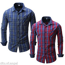 Mens Casual Dress Shirt Long Sleeved Plaid Slim Fit Button-Up Smart Shirts M-2XL