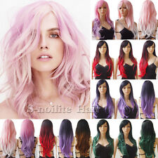 Trendy Long Ombre Cosplay Wigs with Bangs Curly Wavy Anime Costume Party Wig #30