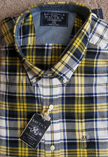 "NAUTICA (Navy/Yellow) PREMIUM BIG &TALL ""SEA VOYAGE"" Plaid Flannel Shirt NWT$59"