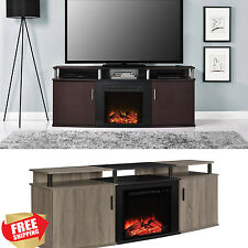 "Electric Fireplace TV Stand up to 70"" Entertainment Media Console Wood Heater"