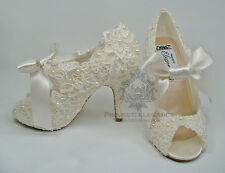 IVORY LACE WEDDING SHOES Pearl HIGH HEEL Bridal Shoes Peep Toe