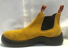SUEDE Steel Cap Real Leather Boot Safety Slip On Wheat Slip Resistant  Safety