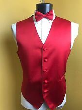 Men's Full back tuxedo vest and tie by tuxedo park, Red in color, Small - 5XL