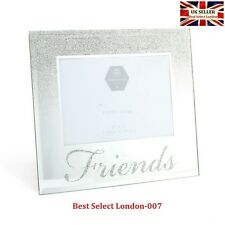 "Family Friends Love Silver Frame Mirror & Glitter 4""x 6"" Picture Photo Frame"