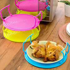 4in1 Microwave Plastic Food Dish Plate Bowl Stand Stacker Tray Heat Lifter L