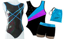 AQUA GIFT SET - LEOTARD SHORTS BAG - GIRLS SIZES 2 to 16 - GYMNASTICS DANCE GYM