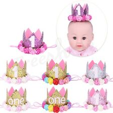 Baby Birthday Crown Sparkly Party Crown Artificial Rose Flowers Tiara Headband