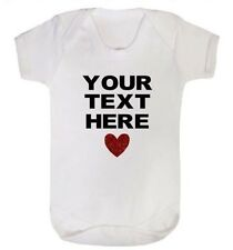 Your Text Here Funny Baby Vest Grow Christening Bodysuit Personalised Baby gift