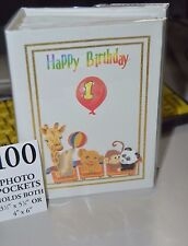 100 Picture book Bound Photo Album ( HAPPY 1ST BIRTHDAY / ZOO ) NEW