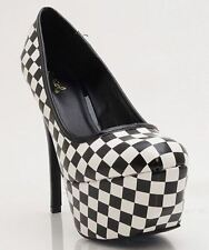 Qupid Psyche-49 Round Toe Patent Checker Print Platform Pumps - BLACK WHITE