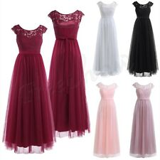 Fashion Women Ladies Lace Tulle Bridesmaid Dress Evening Party Long Gown Cocktai