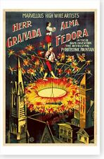 High Wire Artists Herr Granada And Alma Fedora Antique Fireworks Circus Poster