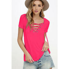 Fashion Lace Up Womens Sexy T Shirt Hollow Out Top V Neck Summer Casual Cloth