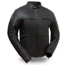 Mens Motorcycle Lightweight Distressed  Black Leather Jacket Hipster FIM253SDC