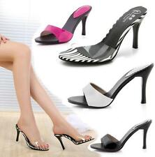 Sexy Womens Stilettos Slide Mules High Heels Clear PVC Sandals Slip On Shoes New