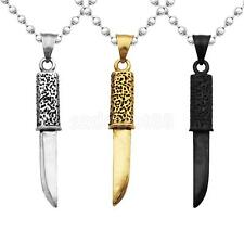 Fashion Stainless Steel Small Knife Dagger Pendant Chain Necklace Jewelry