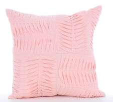 Textured Pintucks Pink Cotton Linen 40x40 cm Throw Cushion Cover - Pinch Of Love