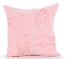 Textured Pintucks 45x45 cm Cotton Linen Pink Throw Cushion Cover - Pinch Of Love