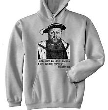 HENRY VIII KING - NEW COTTON GREY HOODIE - ALL SIZES IN STOCK