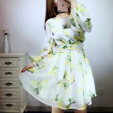 Digital color flower printing long sleeve pleated skirt dress female Size S M L